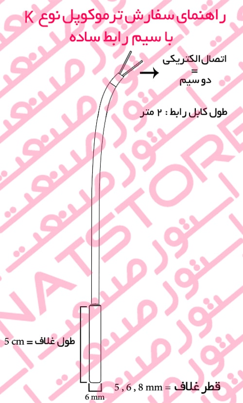 راهنمای سفارش ترموکوپل نوع K با سیم رابط ساده