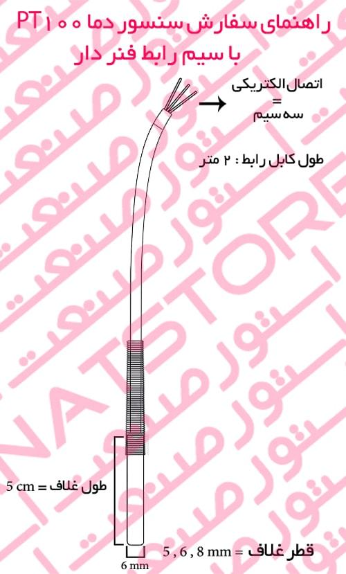 راهنمای سفارش سنسور دما PT100 با سیم رابط فنر دار