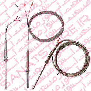 سنسور دما PT100 با سیم رابط دارای دنده و مهره