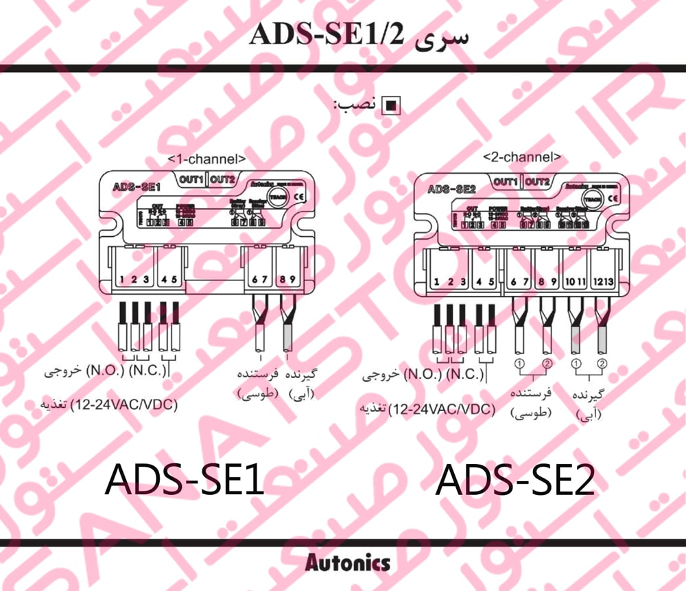 راهنمای نصب سنسور جانبی (جداری) درب اتوماتیک آتونیکس Autonics سری ADS-SE1.2