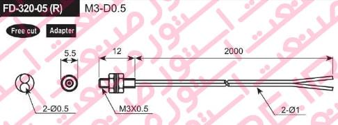ابعاد سنسور فیبر نوری آتونیکس مدل FD-320-05(R)