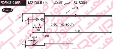 ابعاد سنسور فیبر نوری آتونیکس مدل FDFN-210-05R