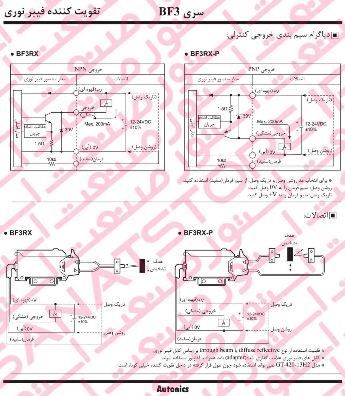 نصب آمپلی فایر فیبر نوری آتونیکس سری BF3 - آمپلی فایر فیبر نوری آتونیکس Autonics مدل BF3RX