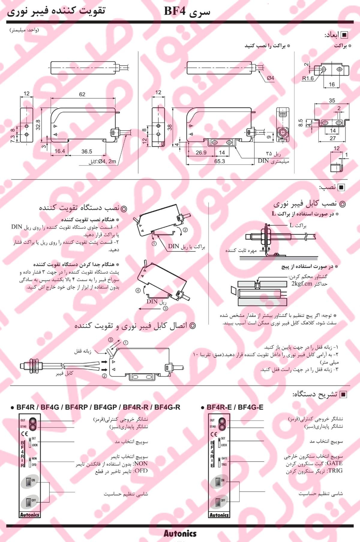 راهنمای نصب آمپلی فایر فیبر نوری آتونیکس سری BF4