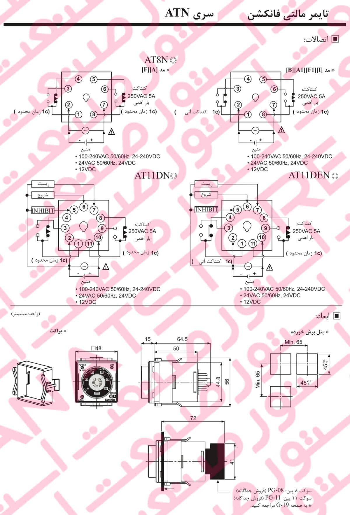 راهنمای نصب تایمر های آنالوگ مولتی فانکشن آتونیکس Autonics سری ATN