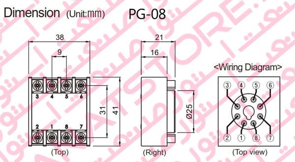 ابعاد سوکت PG-08