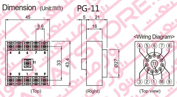ابعاد سوکت PG-11