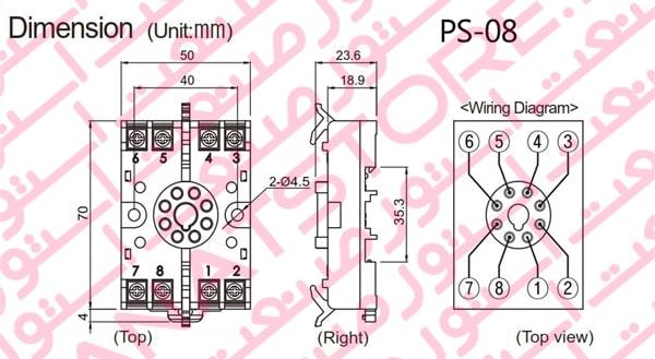 ابعاد سوکت PS-08