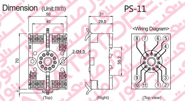 ابعاد سوکت PS-11