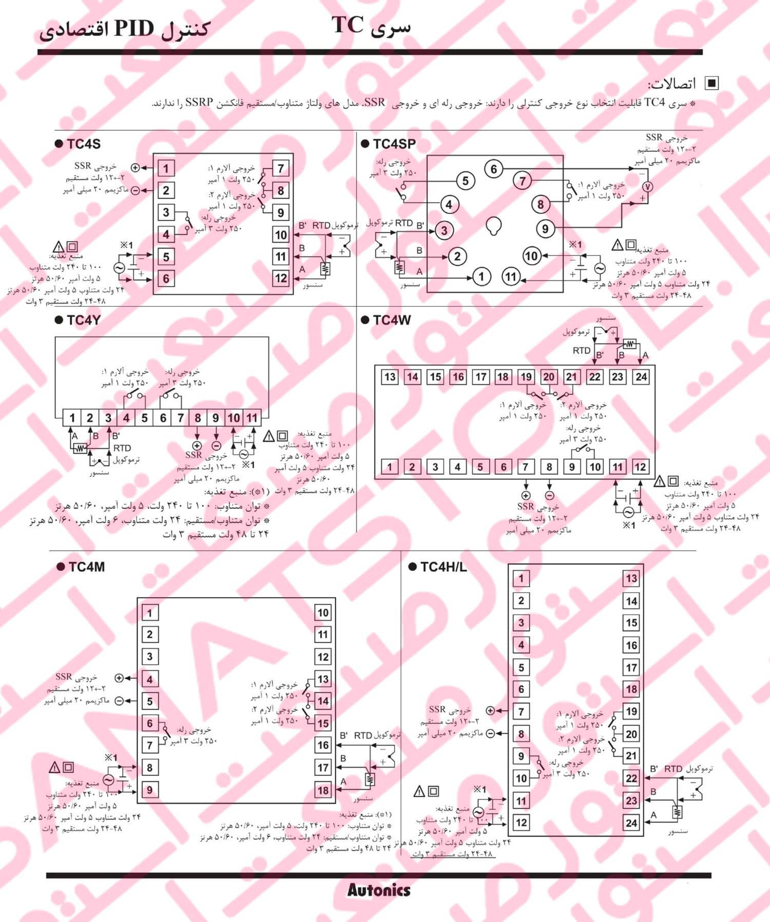 راهنمای نصب کنترلر های دما آتونیکس Autonics سری TC