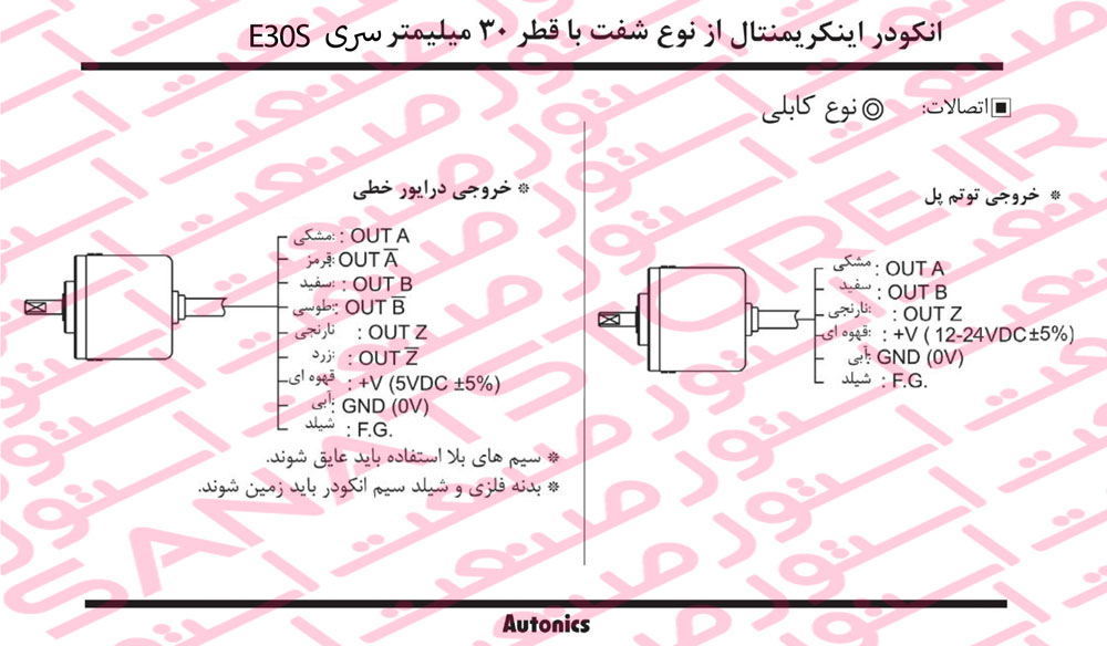 راهنمای نصب روتاری اینکودر های آتونیکس Autonics سری E30S