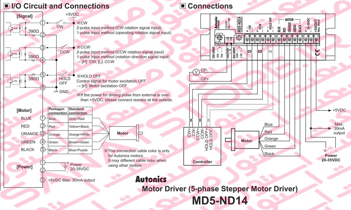 راهنمای نصب درایور استپ موتور آتونیکس Autonics مدل MD5-ND14